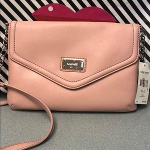 Nine West crossbody pink with silver hardware